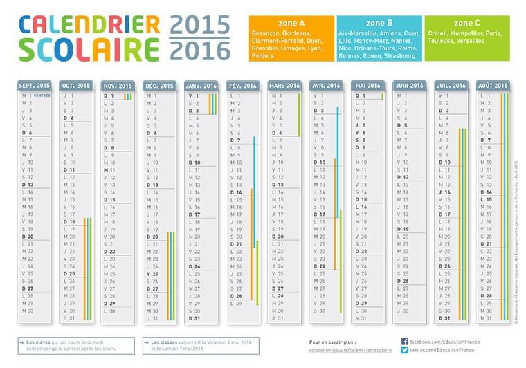 ... en résumé ici les zones les dates 2015 2016 calendrier 2015 2016