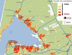 projet contournement carte de densité de population nord bassin