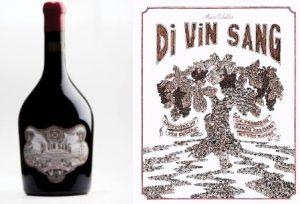 di vin sang bouteille et couv