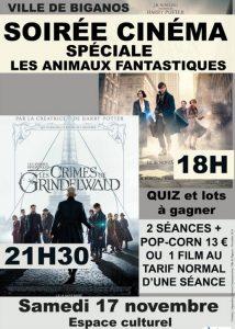 cinema biganos soiree animaux fantastiques