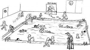 dessin piscine gamins