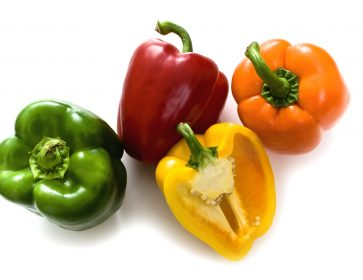 Bell Peppers isolated on white.