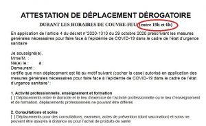 attestation derogation couvre feu 19h