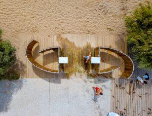 vestiaire de la plage audenge vu aerienne